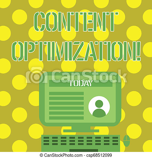 Word writing text Content Optimization. Business concept for techniques to improve search results and ranking Desktop Computer Mounted on Stand with Online Profile Data on Monitor Screen. - csp68512099