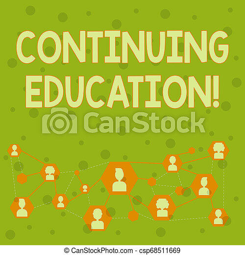 Word writing text Continuing Education. Business concept for postsecondary learning activities and programs Online Chat Head Icons with Avatar and Connecting Lines for Networking Idea. - csp68511669