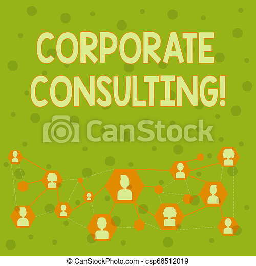 Word writing text Corporate Consulting. Business concept for growth and to improve overall business perforanalysisce Online Chat Head Icons with Avatar and Connecting Lines for Networking Idea. - csp68512019