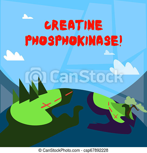 Word writing text Creatine Phosphokinase. Business concept for protein that aids chemical changes in the body Mountain View with Marked Hiking Trail and Trekking Tracks for Outdoor Ads. - csp67892228
