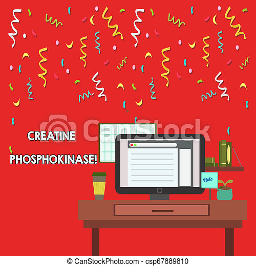 Word writing text Creatine Phosphokinase. Business concept for protein that aids chemical changes in the body photo of Interior Working Space Station Concept of Technical Person. - csp67889810