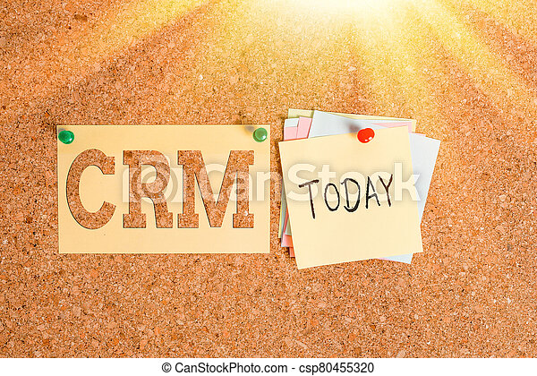 Word writing text Crm. Business concept for Strategy for managing the Affiliation Interactions of an organization Corkboard color size paper pin thumbtack tack sheet billboard notice board. - csp80455320