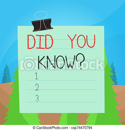 Word writing text Did You Know Question. Business concept for when you are asking someone if they know fact or event Paper lines binder clip cardboard blank square notebook color background. - csp74470794