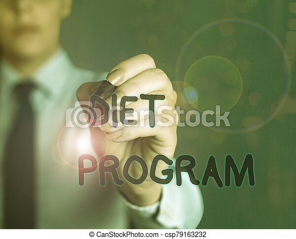 Word writing text Diet Program. Business concept for practice of eating food in a regulated and supervised fashion. - csp79163232