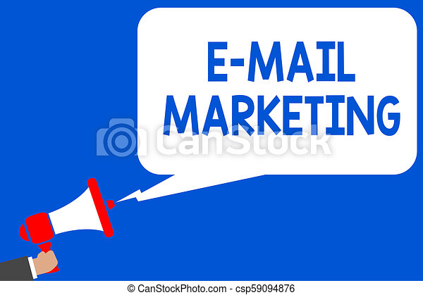 Word writing text E Mail Marketing  Business concept for E-commerce  Advertising Online sales Newsletters Promotion Multiple lines blue script  message