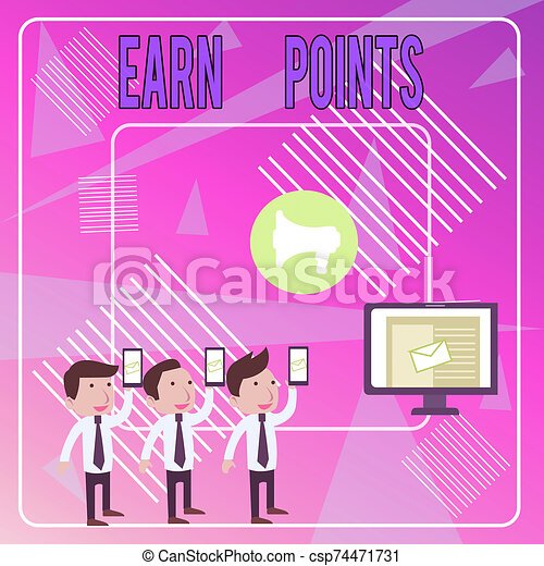Word writing text Earn Points. Business concept for getting praise or approval for something you have done SMS Email Marketing Media Audience Attraction Personal Computer Loudspeaker. - csp74471731