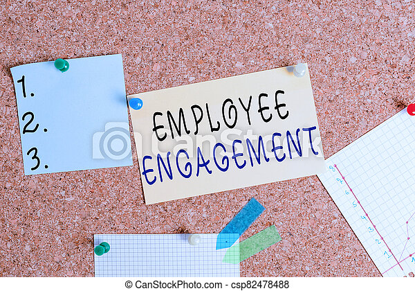 Word writing text Employee Engagement. Business concept for extent to which workers feel passionate about their jobs Corkboard color size paper pin thumbtack tack sheet billboard notice board. - csp82478488