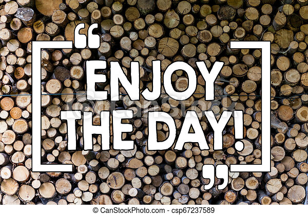 Word writing text Enjoy The Day. Business concept for Enjoyment Happy Lifestyle Relaxing Time Wooden background vintage wood wild message ideas intentions thoughts. - csp67237589