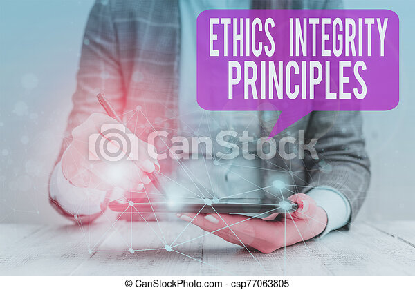 Word writing text Ethics Integrity Principles. Business concept for quality of being honest and having strong moral Female human wear formal work suit presenting presentation use smart device. - csp77063805