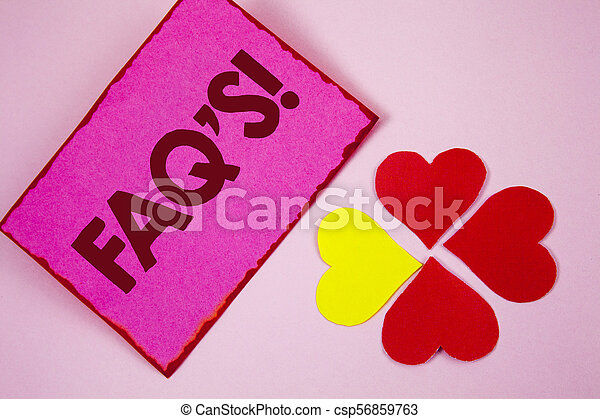 Word writing text Faq'S Motivational Call. Business concept for Multiple questions answered for online product written on Sticky note paper on plain Pink background Paper Hearts next to it. - csp56859763