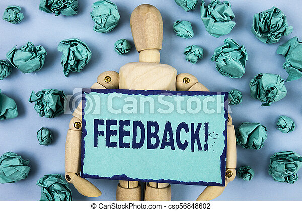 Word writing text Feedback Motivational Call. Business concept for Rating an economical local grocery store written on Sticky note paper within Paper Balls on plain background Jointed Toy - csp56848602