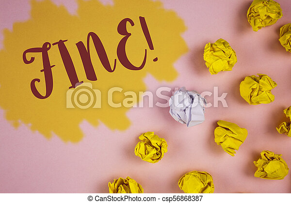Word writing text Fine Motivational Call. Business concept for No hidden charges from large moving companies written on Painted background Crumpled Paper Balls next to it. - csp56868387