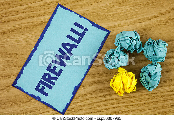 Word writing text Firewall Motivational Call. Business concept for Malware protection prevents internet frauds written on Sticky Note paper on wooden background Paper Balls next to it. - csp56887965