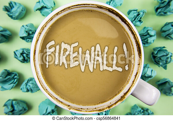 Word writing text Firewall Motivational Call. Business concept for Malware protection prevents internet frauds written on Tea in White Cup within Crumpled Paper Balls on plain background. - csp56864841