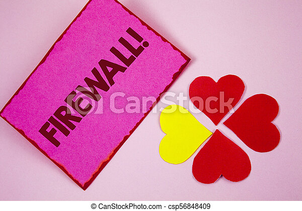 Word writing text Firewall Motivational Call. Business concept for Malware protection prevents internet frauds written on Sticky note paper on plain Pink background Paper Hearts next to it. - csp56848409