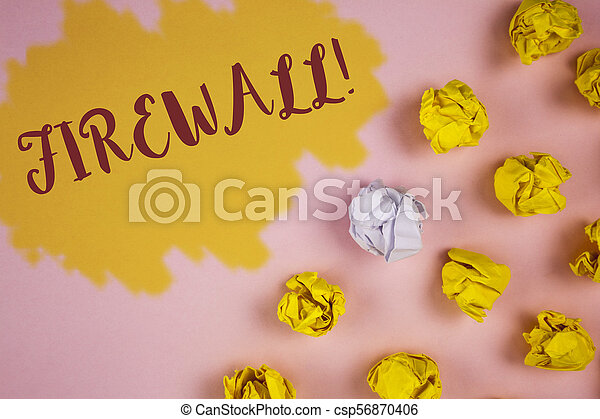 Word writing text Firewall Motivational Call. Business concept for Malware protection prevents internet frauds written on Painted background Crumpled Paper Balls next to it. - csp56870406