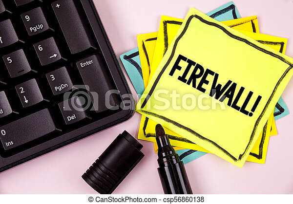 Word writing text Firewall Motivational Call. Business concept for Malware protection prevents internet frauds written on Sticky Note paper on plain background Marker and Keyboard next to it. - csp56860138