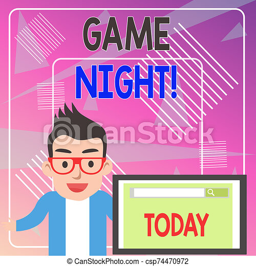 Word writing text Game Night. Business concept for usually its called on adult play dates like poker with friends Male Speaker Monitor with Search Tool on Screen Presentation or Report. - csp74470972