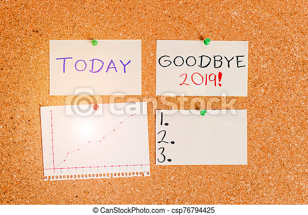 Word writing text Goodbye 2019. Business concept for express good wishes when parting or at the end of last year Corkboard color size paper pin thumbtack tack sheet billboard notice board. - csp76794425