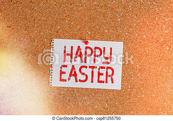 Word writing text Happy Easter. Business concept for Christian feast commemorating the resurrection of Jesus Corkboard color size paper pin thumbtack tack sheet billboard notice board. - csp81255750