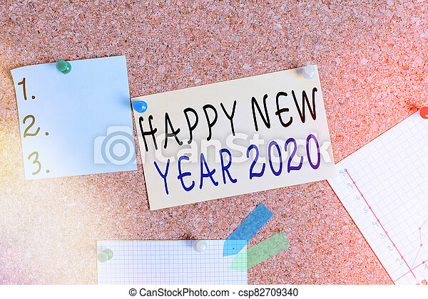Word writing text Happy New Year 2020. Business concept for celebration of the beginning of the calendar year 2020 Corkboard color size paper pin thumbtack tack sheet billboard notice board. - csp82709340