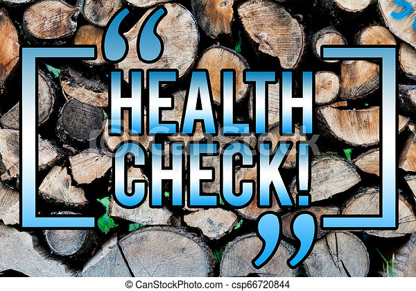 Word writing text Health Check. Business concept for Medical Examination Diagnosis Tests to prevent diseases Wooden background vintage wood wild message ideas intentions thoughts. - csp66720844
