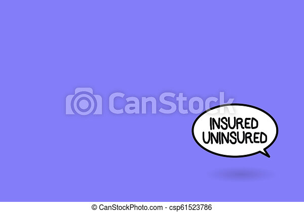Word writing text Insured Uninsured. Business concept for Company selling insurance Checklist to choose from - csp61523786
