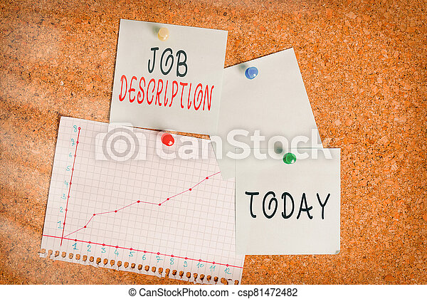Word writing text Job Description. Business concept for a formal account of an employee s is responsibilities Corkboard color size paper pin thumbtack tack sheet billboard notice board. - csp81472482
