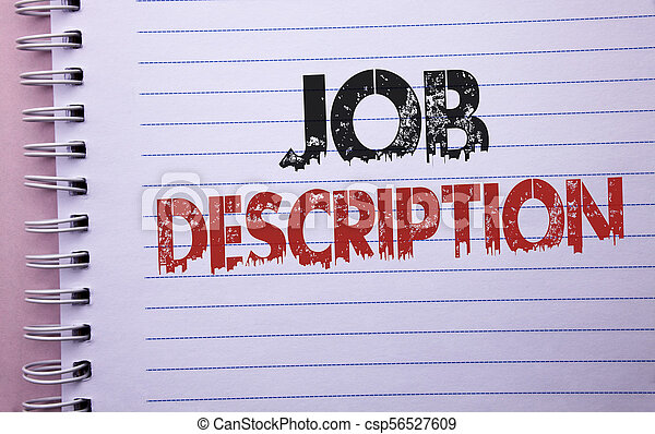 Word writing text job description. business concept for... stock ...