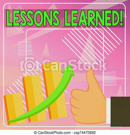 Word writing text Lessons Learned. Business concept for experiences distilled project that should actively taken Thumb Up Good Performance Success Escalating Bar Graph Ascending Arrow. - csp74470692