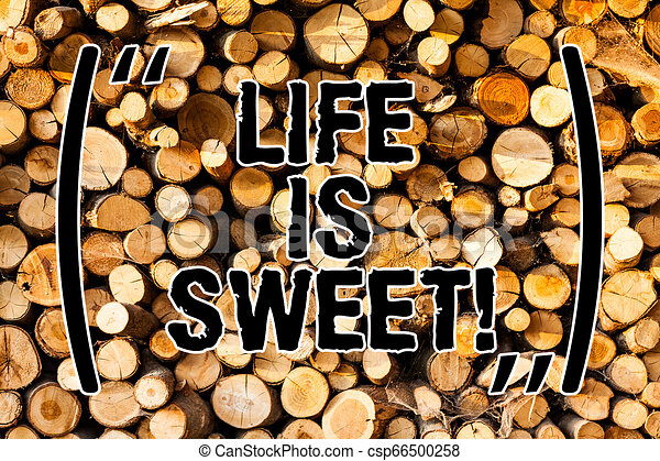 Word writing text Life Is Sweet. Business concept for Happiness seeing the good side of events Motivation Inspire Wooden background vintage wood wild message ideas intentions thoughts. - csp66500258
