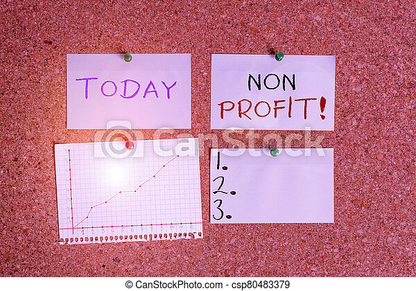 Word writing text Non Profit. Business concept for not making or conducted primarily to make profit organization Corkboard color size paper pin thumbtack tack sheet billboard notice board. - csp80483379