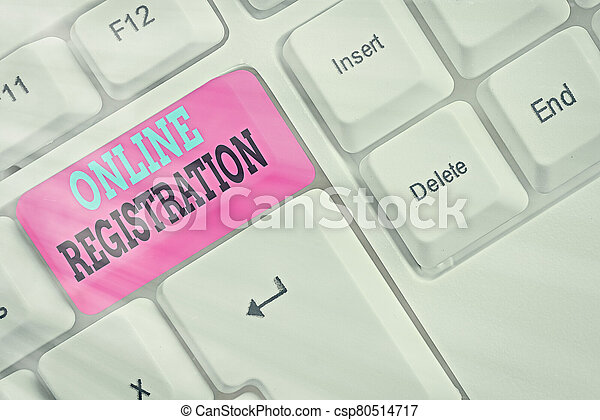Word writing text Online Registration. Business concept for Process to Subscribe to Join an event club via Internet. - csp80514717
