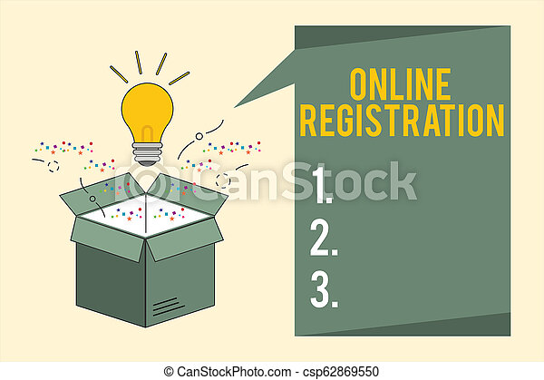 Word writing text Online Registration. Business concept for Process to Subscribe to Join an event club via Internet - csp62869550
