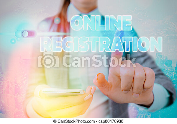 Word writing text Online Registration. Business concept for Process to Subscribe to Join an event club via Internet. - csp80476938