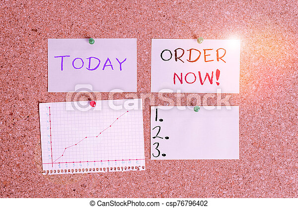 Word writing text Order Now. Business concept for confirmed request by one party to another to buy sell Corkboard color size paper pin thumbtack tack sheet billboard notice board. - csp76796402