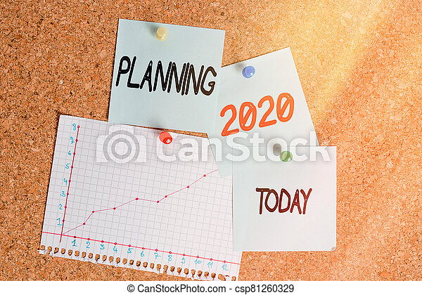 Word writing text Planning 2020. Business concept for process of making plans for something next year Corkboard color size paper pin thumbtack tack sheet billboard notice board. - csp81260329