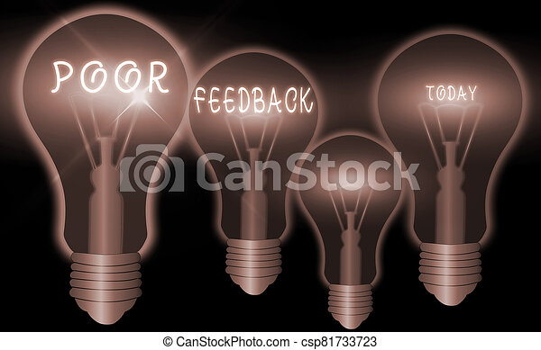Word writing text Poor Feedback. Business concept for lowgraded evaluation given to the offered product and service. - csp81733723