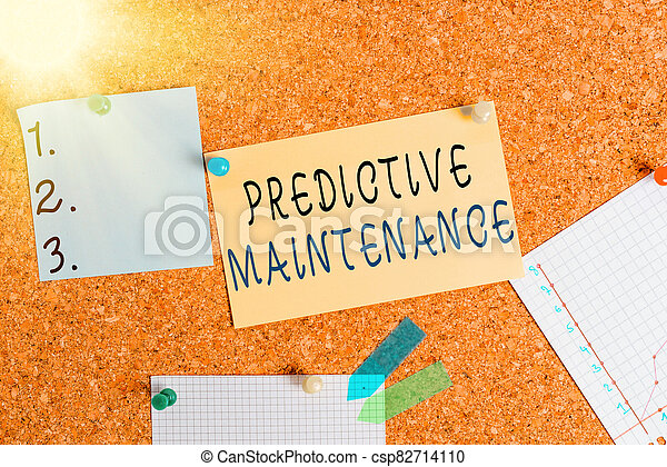 Word writing text Predictive Maintenance. Business concept for designed to help determine the condition of equipment Corkboard color size paper pin thumbtack tack sheet billboard notice board. - csp82714110