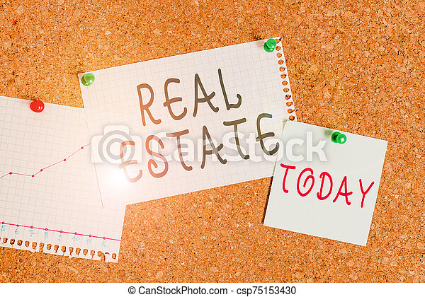 Word writing text Real Estate. Business concept for the property consisting of land and the buildings on it Corkboard color size paper pin thumbtack tack sheet billboard notice board. - csp75153430