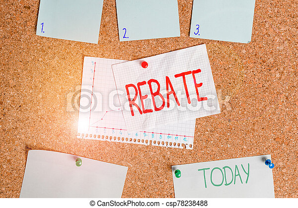 Word writing text Rebate. Business concept for Huge rewards that can get when you engaged to a special promo Corkboard color size paper pin thumbtack tack sheet billboard notice board. - csp78238488