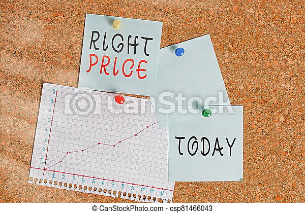 Word writing text Right Price. Business concept for the amount of money that it is reasonable for the product Corkboard color size paper pin thumbtack tack sheet billboard notice board. - csp81466043