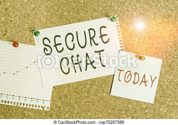 Word writing text Secure Chat. Business concept for approach to protect messages when sent beyond the corporate Corkboard color size paper pin thumbtack tack sheet billboard notice board. - csp75297389