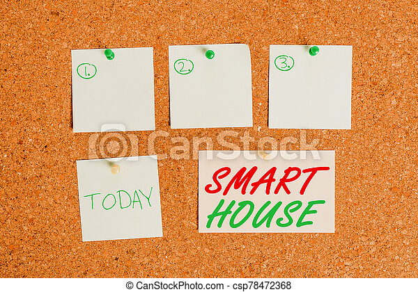 Word writing text Smart House. Business concept for homes that have electronic devices and controlled remotely Corkboard color size paper pin thumbtack tack sheet billboard notice board. - csp78472368