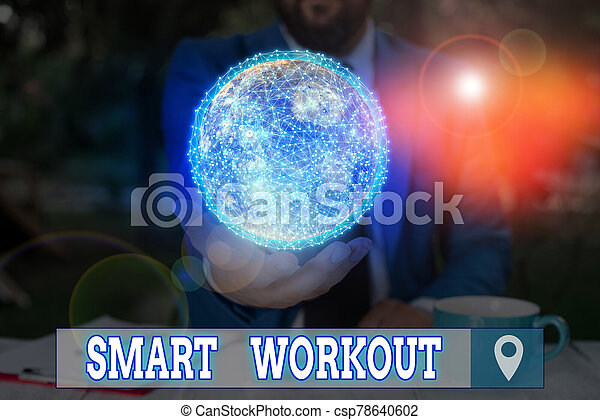 Word writing text Smart Workout. Business concept for set a goal that maps out exactly what need to do in being fit Elements of this image furnished by NASA. - csp78640602