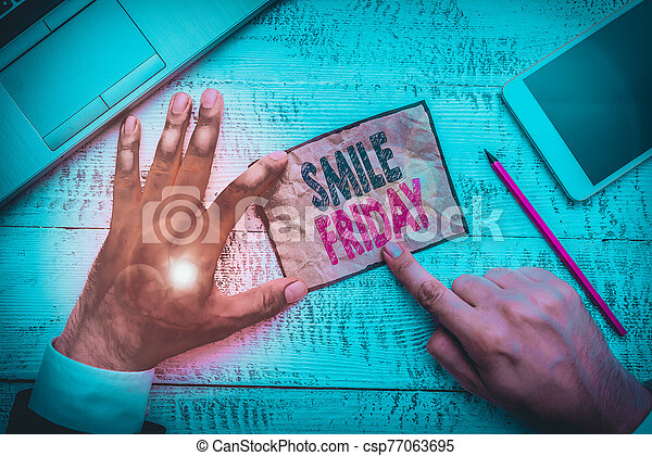 Word writing text Smile Friday. Business concept for used to express happiness from beginning of fresh week. - csp77063695