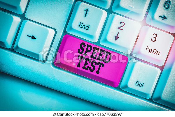 Word writing text Speed Test. Business concept for psychological test for the maximum speed of performing a task White pc keyboard with empty note paper above white background key copy space. - csp77063397