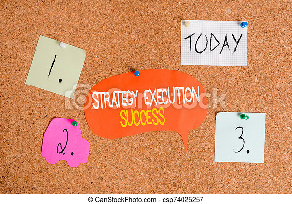 Word writing text Strategy Execution Success. Business concept for putting plan or list and start doing it well Corkboard color size paper pin thumbtack tack sheet billboard notice board. - csp74025257