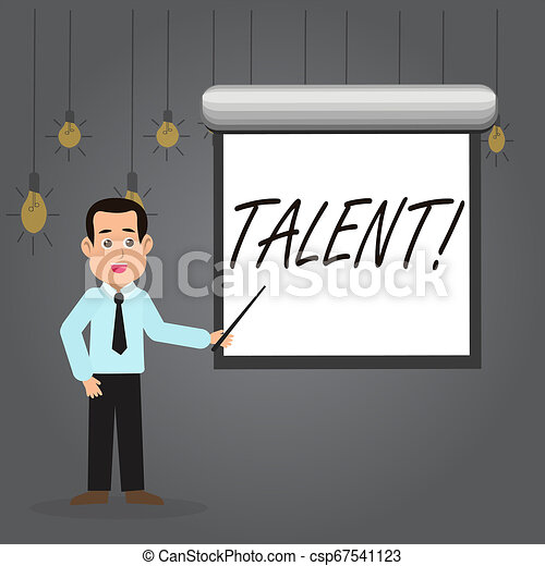 Word writing text Talent. Business concept for Natural abilities of showing showing specialized skills they possess Man in Necktie Talking Holding Stick Pointing to Blank White Screen on Wall. - csp67541123