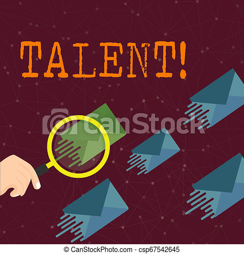 Word writing text Talent. Business concept for Natural abilities of showing showing specialized skills they possess Magnifying Glass on One Different Color Envelope and others has Same Shade. - csp67542645
